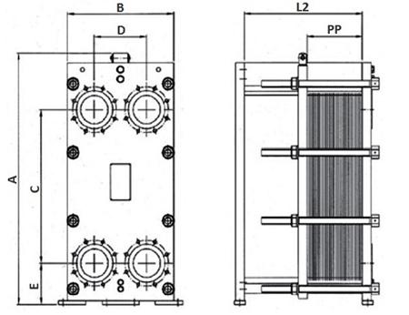 Габаритные размеры пластинчатого теплообменника FP 04-121 Funke