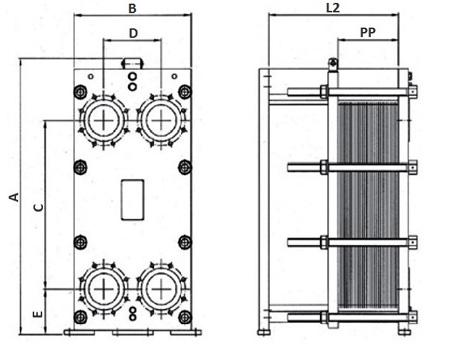 Габаритные размеры пластинчатого теплообменника FP 08-107 Funke