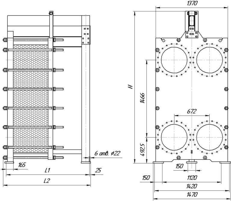 Габаритные размеры теплообменника Этра ЭТ-150-739