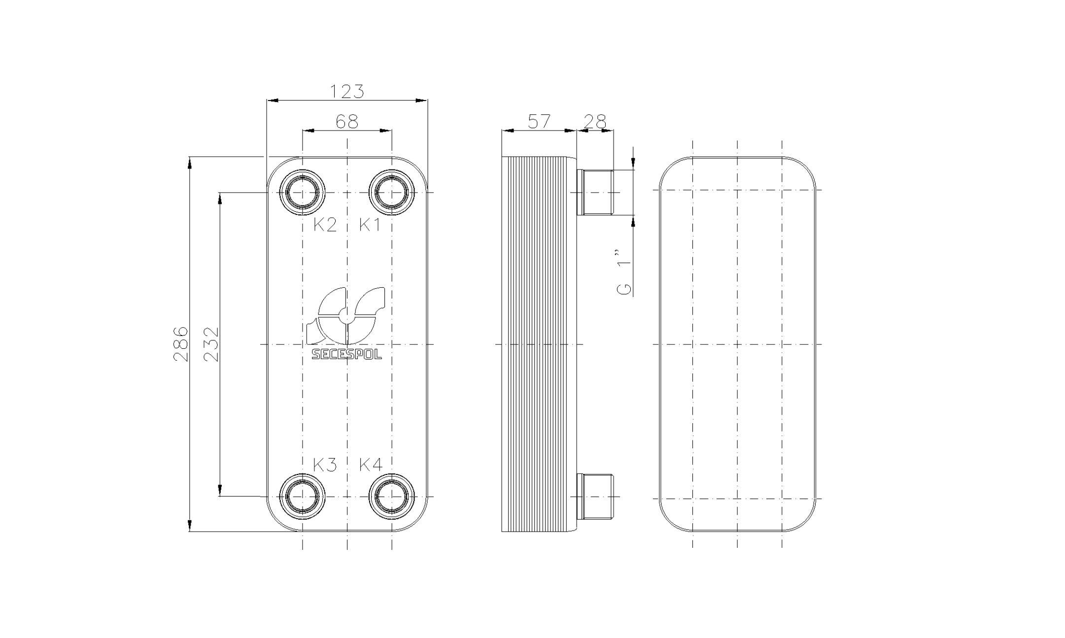 """Габаритные размеры паяного пластинчатого теплообменника Secespol LB31-20-1"""""""