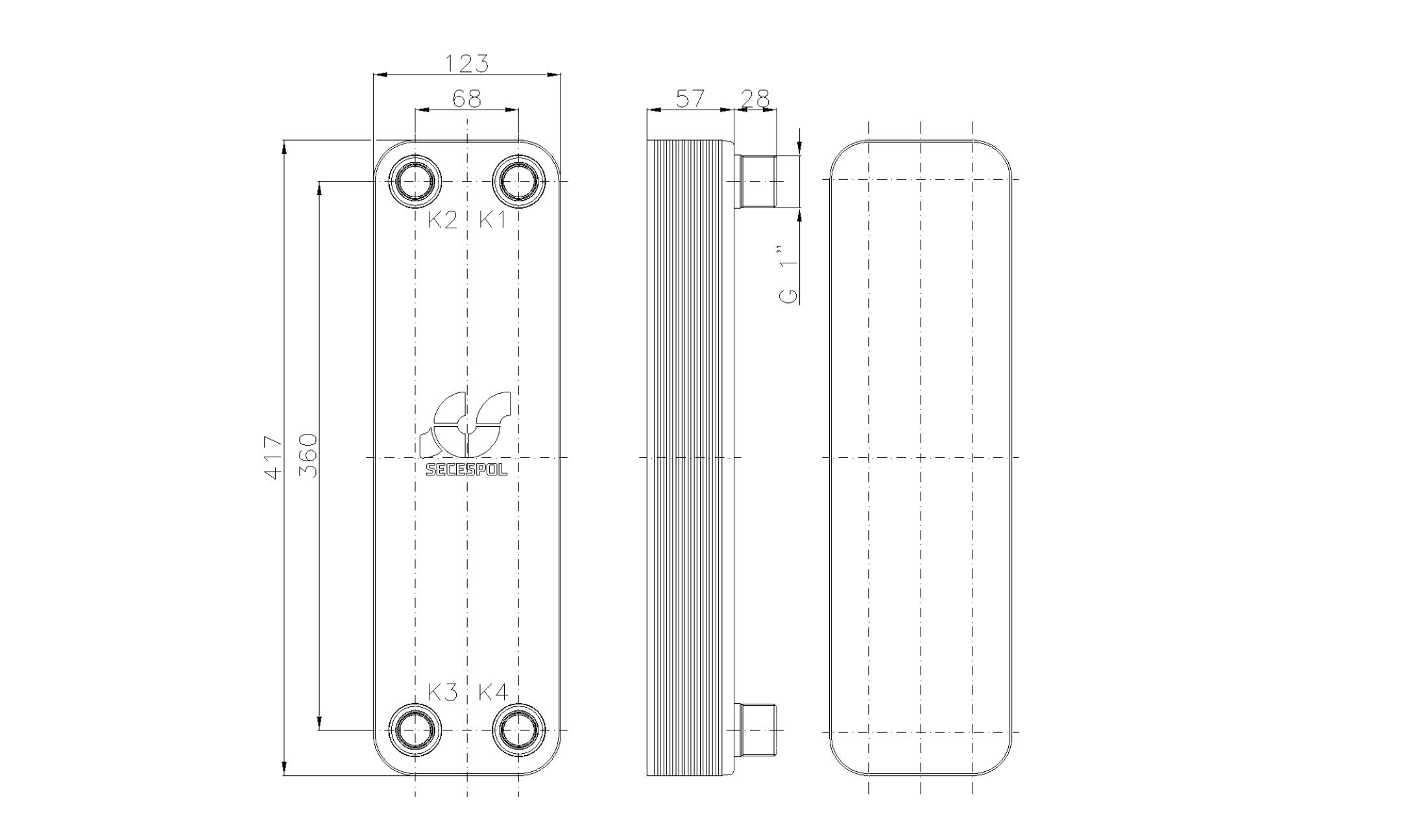 """Габаритные размеры паяного пластинчатого теплообменника Secespol LB47-20-1"""""""