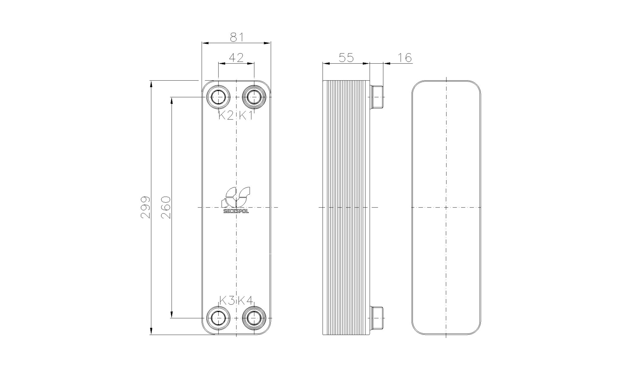 Габаритные размеры паяного пластинчатого теплообменника Secespol RA22-20