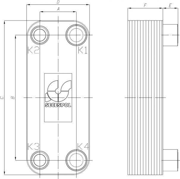 Паяный пластинчатый теплообменник Secespol RA22-20