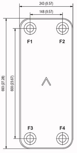Габаритные размеры паяного пластинчатого теплообменника B57-20 Swep