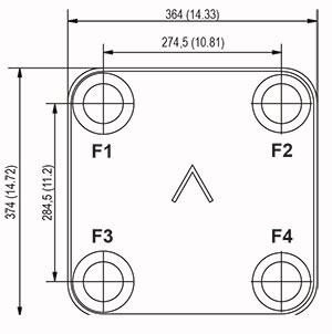 Габаритные размеры паяного пластинчатого теплообменника B60-160 Swep