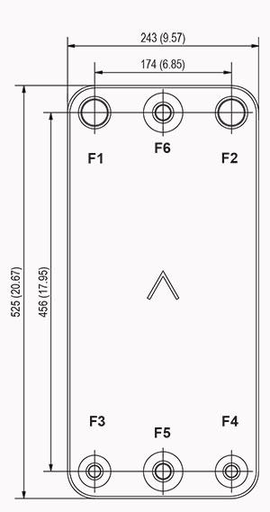 Габаритные размеры паяного пластинчатого теплообменника DB200-50 SWEP