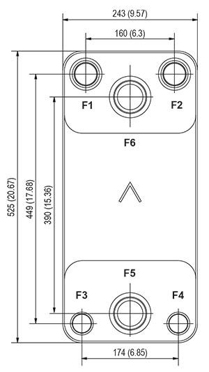 Габаритные размеры паяного пластинчатого теплообменника DFX310-20 SWEP