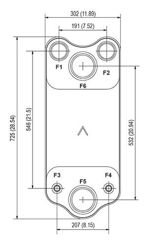 Габаритные размеры паяного пластинчатого теплообменника DV700-120 SWEP