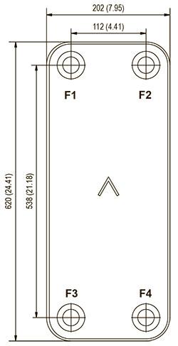 Габаритные размеры паяного пластинчатого теплообменника F250AS-90 SWEP