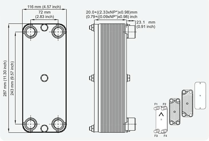 Габаритные размеры гибридного теплообменника M10-30 SWEP