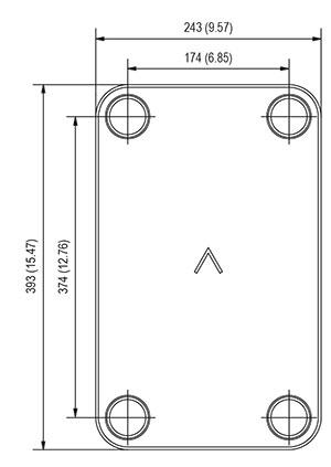 Габаритные размеры паяного пластинчатого теплообменника V35T-40 SWEP