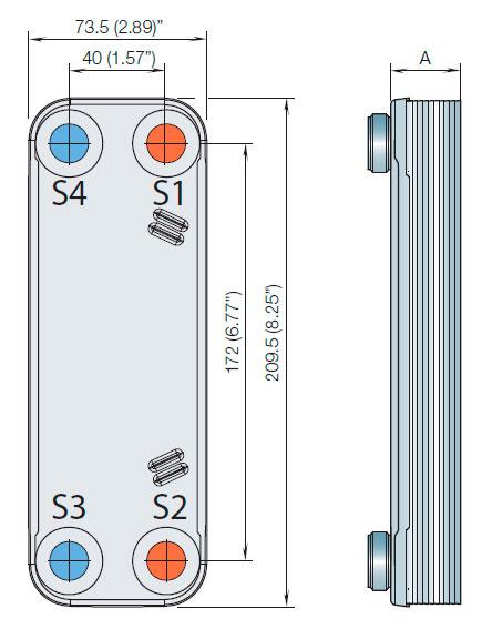 Габаритные размеры паяного пластинчатого теплообменника ACH16-28H Alfa Laval