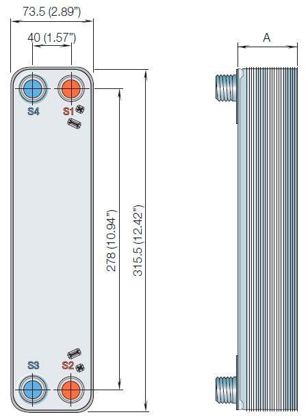 Габаритные размеры паяного пластинчатого теплообменника ACH18-24H-F Alfa Laval