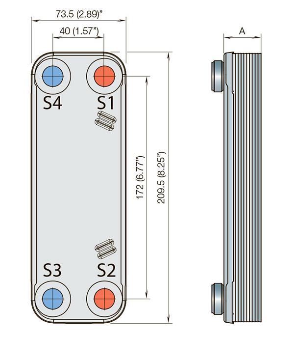 Габаритные размеры паяного пластинчатого теплообменника CBH16-25H Alfa Laval