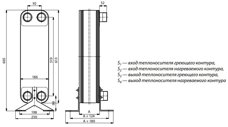 Габаритные и монтажные размеры теплобменника Danfoss XB 59M