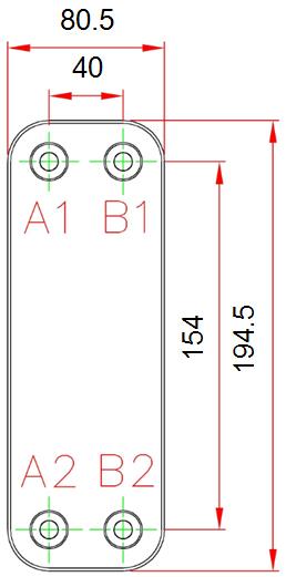 Габаритные размеры паяного пластинчатого теплообменника Е030*8M-GB6 KAORI
