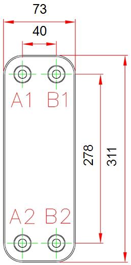 Габаритные размеры паяного пластинчатого теплообменника Е040*10M-GB6 KAORI