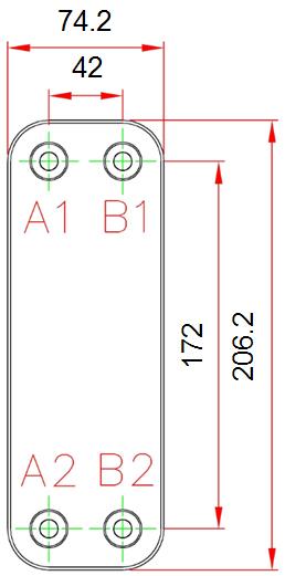 Габаритные размеры паяного пластинчатого теплообменника F025*A22M-G4 KAORI