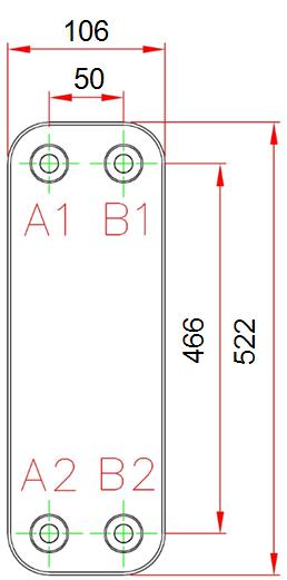Габаритные размеры паяного пластинчатого теплообменника R095*H10C-S79G8 KAORI