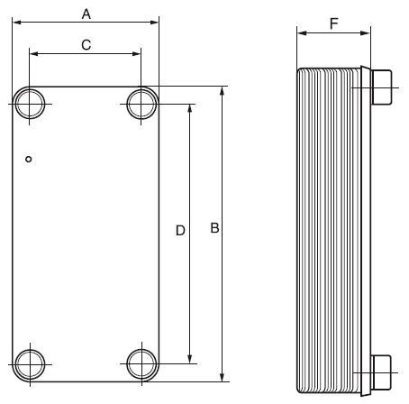 Габаритные размеры паяного пластинчатого теплообменника NP 1-20 Кельвион