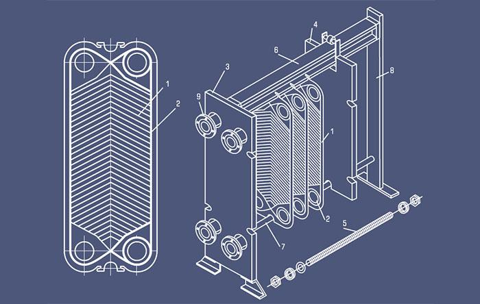 Конструкция пластинчатого теплообменника NT250M-03 Kelvion