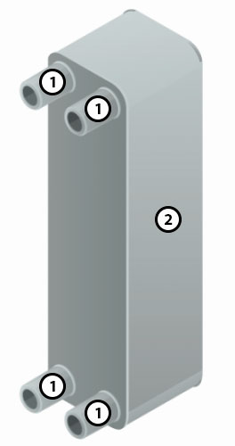 Конструкция паяного пластинчатого теплообменника XB06H-1-30 Ридан