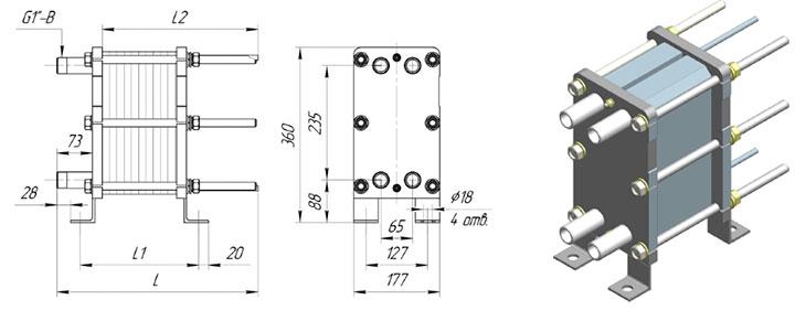 Габаритные размеры разборного пластинчатого теплообменника Ридан НН№02