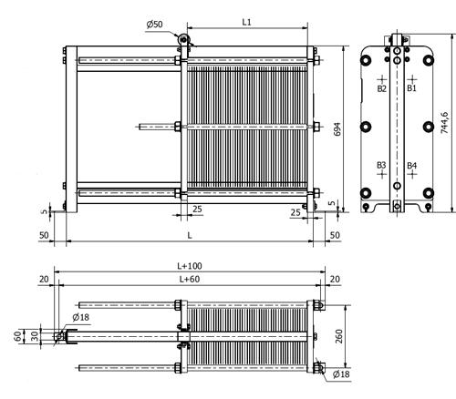Габаритные размеры разборного пластинчатого теплообменника S7A Sondex
