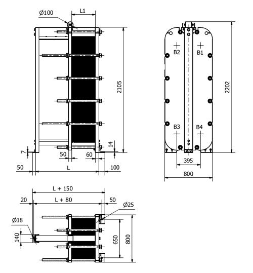 Габаритные размеры разборного пластинчатого теплообменника SF101 Sondex