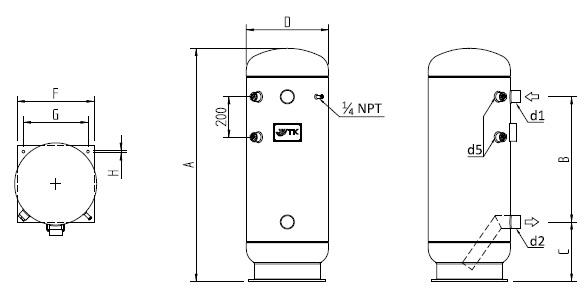 Габаритные размеры жидкостного ресивера WTK VLR 60
